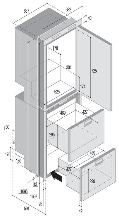 DW360 OCX2 BTX upper refrigerator compartment and lower freezer/freezer compartment