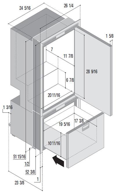 DW250IXN4-EFV upper refrigerator compartment lower freezer compartment