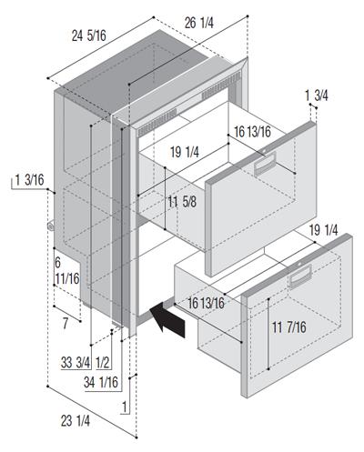 DW180IXD4-EF double freezer/refrigerator compartment